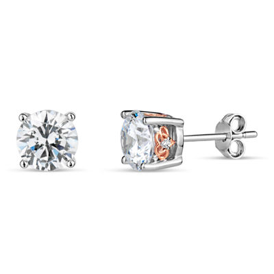 Sterling Silver Two-Tone Filigree Sides Stud Earings featuring Swarovski Zirconia