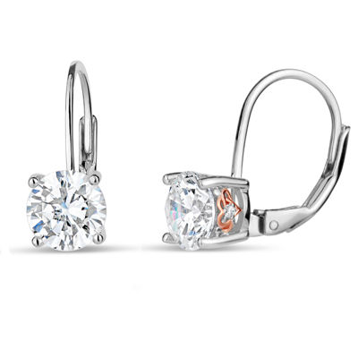 Sterling Silver Two-Tone Leverback Earrings featuring Swarovski Zirconia
