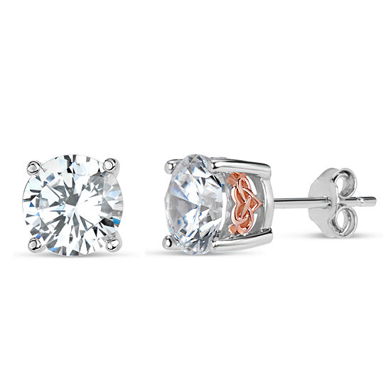 Sterling Silver Two Tone Filligree Sides Stud Earrings Featuring Swarovski Zirconia