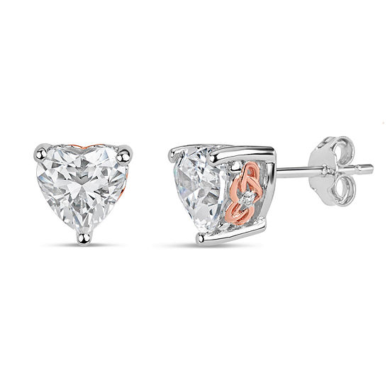 Sterling Silver Two-Tone Heart Filigree Stud Earrings featuring Swarovski Zirconia