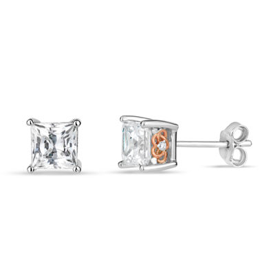 Sterling Silver Two-Tone Square Filigree Stud Earrings featuring Swarovski Zirconia