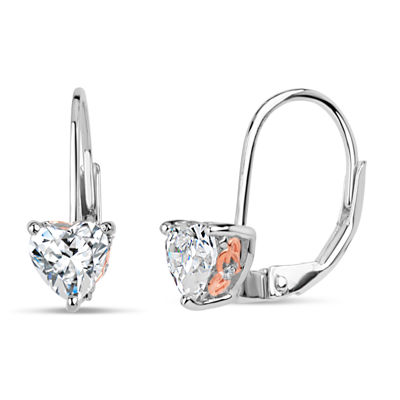 Sterling Silver Two-Tone Heart Leverback Earrings featuring Swarovski Zirconia
