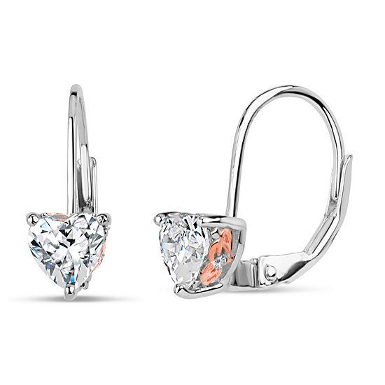 Sterling Silver Two-Tone Heart Leverback Earrings featuring Swarovski Zirconia