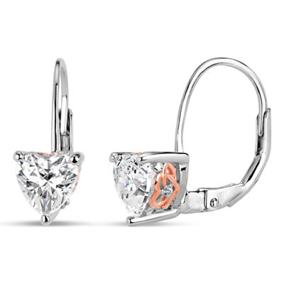 Sterling Silver Two-Tone Heart Filigree Sides Leverback Earrings featuring Swarovski Zirconia