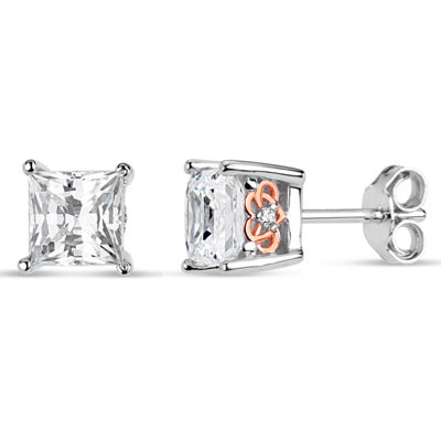 Sterling Silver Two-Tone Square Filligree Sides Stud Earrings featuring Swarovski Zirconia