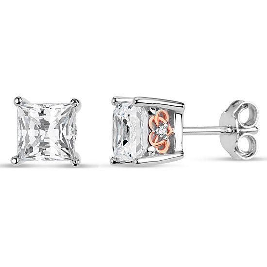 Sterling Silver Two Tone Square Filligree Sides Stud Earrings Featuring Swarovski Zirconia