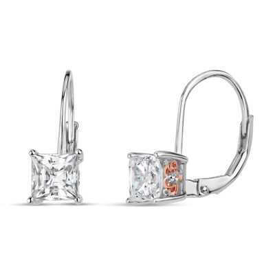 Sterling Silver Two-Tone Square Filigree Sides Leverback Earrings featuring Swarovski Zirconia