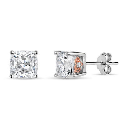 Sterling Silver Two-Tone Filligree Sides Stud Earrings featuring Swarovski Zirconia