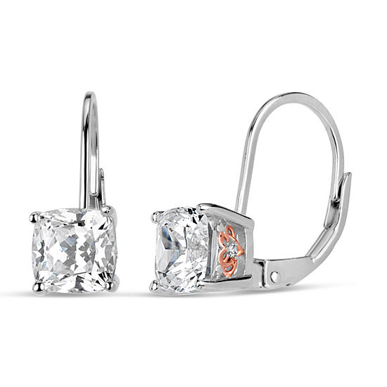 Sterling Silver Two-Tone Filigree Sides Leverback Earrings featuring Swarovski Zirconia
