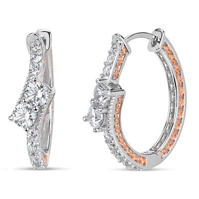 Sterling Silver Two-Tone Double Bypass Oval Hoop Earrings featuring Swarovski Zirconia