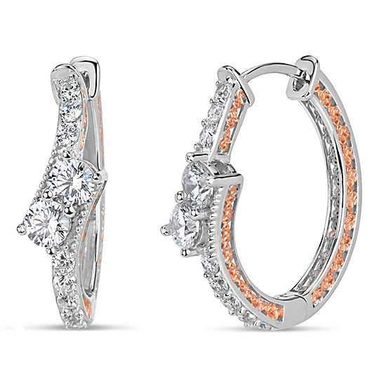 Sterling Silver Two-Tone Double Bypass Oval Hoop Earrings featuring Swarovski Zirconia