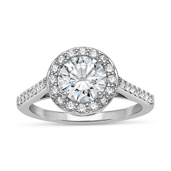 Womens 3 1/4 CT. T.W. White Zirconia Sterling Silver Round Halo Cocktail Ring