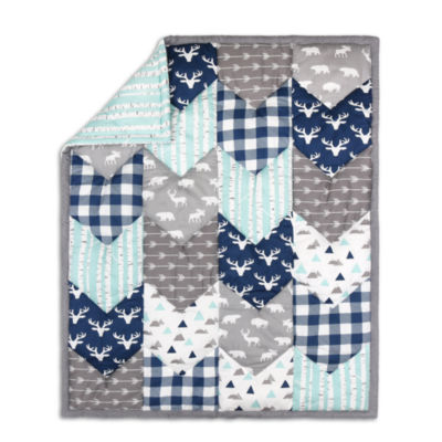 The Peanut Shell Woodland Trail Patchwork Blanket Boys