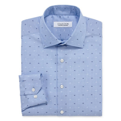 Collection by Michael Strahan  Wrinkle Free Cotton Stretch Long Sleeve Woven Pattern Dress Shirt