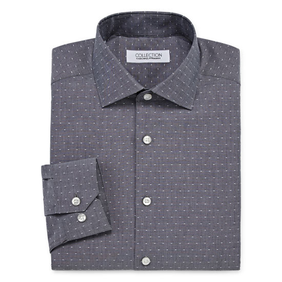 Collection by Michael Strahan  Wrinkle Free Cotton Stretch Long Sleeve Woven Dots Dress Shirt