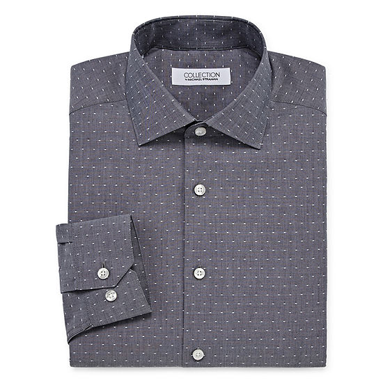 Collection By Michael Strahan Mens Spread Collar Long Sleeve Wrinkle Free Stretch Dress Shirt Big And Tall