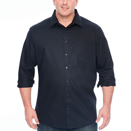 Claiborne Mens Long Sleeve Button Front Shirt Big And Tall