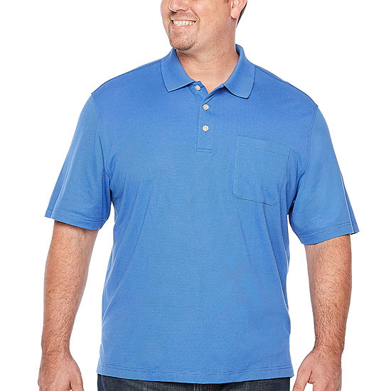 Van Heusen Big and Tall Jacquard Stripe Polo Mens Short Sleeve Polo Shirt
