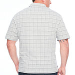 Van Heusen Big and Tall Printed Windowpane Polo Mens Short Sleeve Polo Shirt