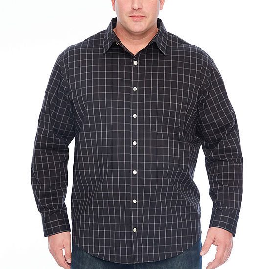 Van Heusen Big and Tall Traveler Stretch Non Iorn Mens Long Sleeve Checked Button-Front Shirt