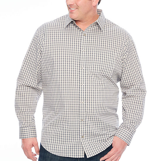 Van Heusen Traveler Stretch Non Iorn Mens Long Sleeve Checked Button-Front Shirt Big and Tall