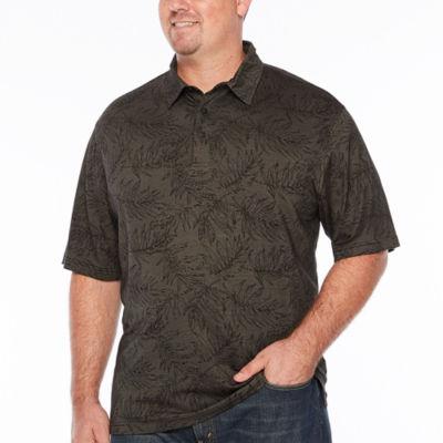 Van Heusen Air Printed Short Sleeve Leaf Knit Polo Shirt - Big and Tall