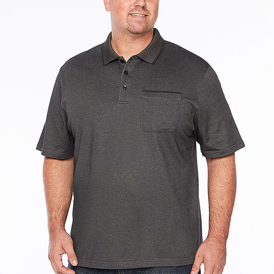 Van Heusen Flex Solid Tipped Polo Mens Short Sleeve Polo Shirt Big and Tall