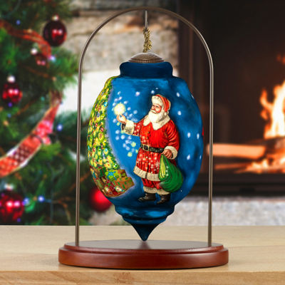 Ne'Qwa Art 7171101 Hand Painted Blown Glass SantaOrnament Limited Edition Trillion Shaped Dated Christmas 2017  6.75-inches