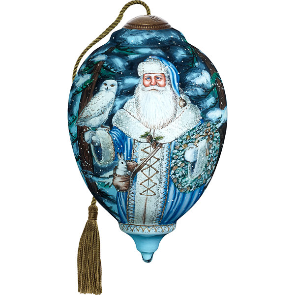 Ne'Qwa Art 7171102 Hand Painted Blown Glass Santa Of The North Ornament Limited Edition Princess Shaped  6.75-inches
