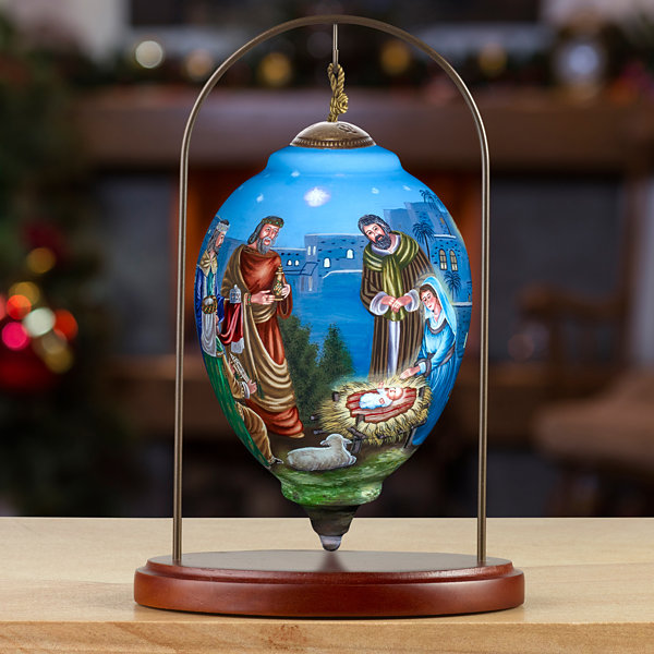 Ne'Qwa Art 7171103 Hand Painted Blown Glass Princess Shaped Ormament  Holy Gathering of Mary  JosephThe Three Wisemen and Baby Jesus  6.75-inches