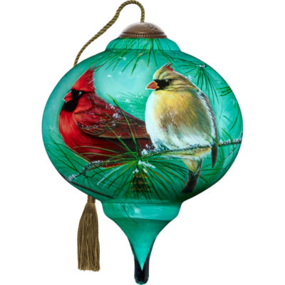 Ne'Qwa Art 7171165 Hand Painted Blown Glass Petite Marquis Shaped Cardinals & White Pine Ornament  3-inches