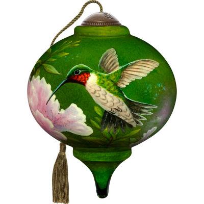 Ne'Qwa Art 7171167 Hand Painted Blown Glass Petitie Marquis Shaped Hummingbird Ornament  3-inches