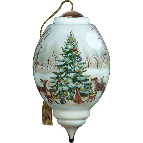 Precious Moments Ne'Qwa Art 7171132 Hand Painted Blown Glass Standard Marquis Shaped Woodland Christmas Scene Ornament  5.5-inches