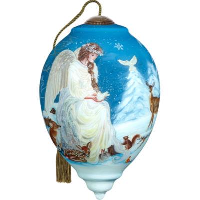 Ne'Qwa Art 7171105 Hand Painted Blown Glass Standard Princess Shaped Winter's Woodland Angel Ornament  5.5-inches