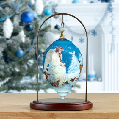 Ne'Qwa Art 7171105 Hand Painted Blown Glass Standard Princess Shaped Winter's Woodland Angel Ornament  5.5-inches
