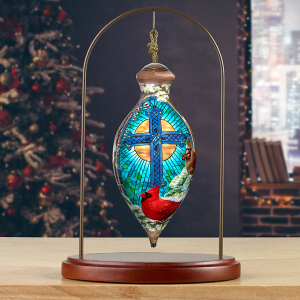 Ne'Qwa Art 7171119 Hand Painted Blown Glass Standard Princess Shaped - The Light of the Season Shining Cross Ornament  - 6.5-inches