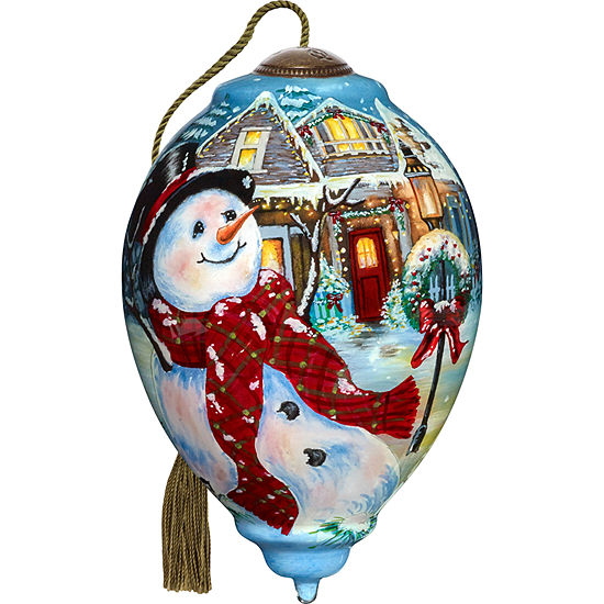 Precious Moments Ne'Qwa Art 7171124 Hand Painted Blown Glass Standard Princess Shaped Ornament of An Old Fashioned Christmas Scene  5.5-inches