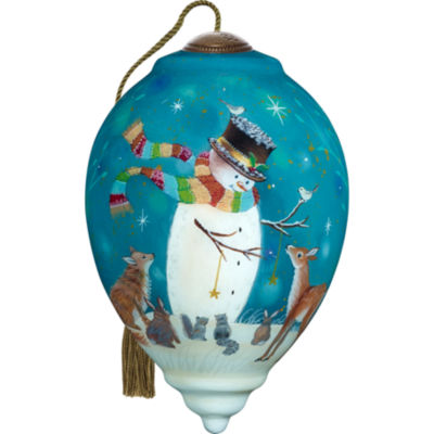 Ne'Qwa Art 7171131 Hand Painted Blown Glass Standard Princess Shaped Snowman and Friends Ornament  5.5-inches