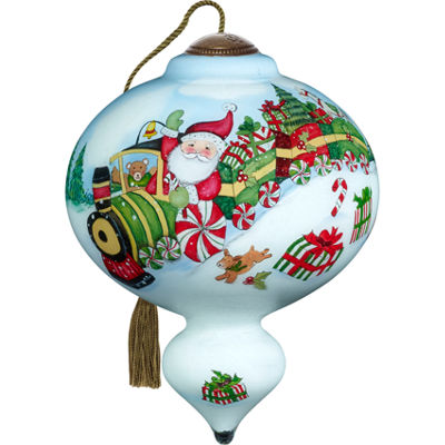 Ne'Qwa Art 7171133 Hand Painted Blown Glass Standard Marquis Shaped Santa's Peppermint Express TrainRide Ornament  5.5-inches