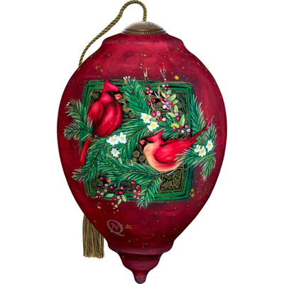 Ne'Qwa Art 7171156 Hand Painted Blown Glass Standard Princess Shaped Cardinals Ornament  5.5-inches