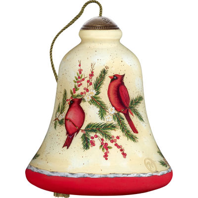 Ne'Qwa Art 7171157 Hand Painted Blown Glass Standard Bell Shaped Good Tidings  Joy And Good Will Ornament  4.5-inches