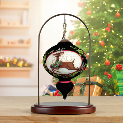 Ne'Qwa Art 7171158 Hand Painted Blown Glass Standard Marquis Shaped Seasons Of Peace Deer and Cardinal Ornament  5.5-inches