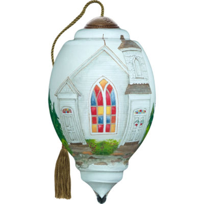 Ne'Qwa Art 7171108 Hand Painted Blown Glass PetiteTrillion Shaped Glory To God In The Highest Church Ornament  3-inches