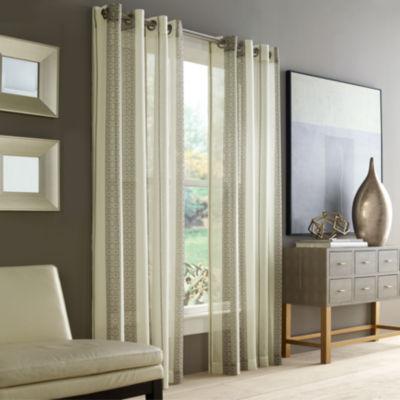 Queen Street Rockland Sheer Grommet-Top Curtain Panel
