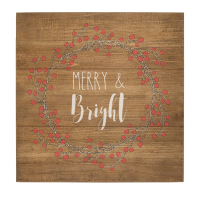 Cathy's Concepts Merry & Bright Wood Sign