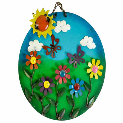 Rustic Arrow Flowers Round Metal Wall Art