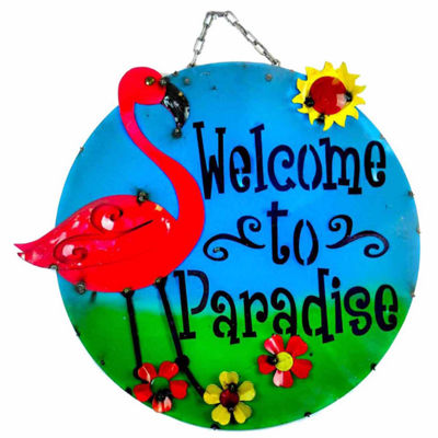 Rustic Arrow Welcome To Paradise With Flamingo Metal Wall Art