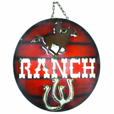 Rustic Arrow Ranch With Cowboy Round Metal Wall Art