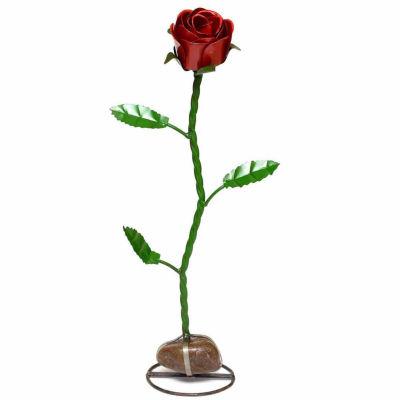 Rustic Arrow Rose With Rock Base Figurine