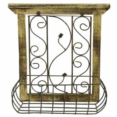 Rustic Arrow Wood Window With Basket Metal Wall Art